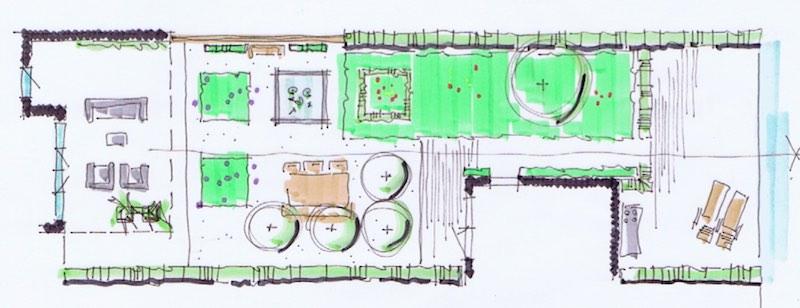 tekening tuin ontwerp schets green in the dirt